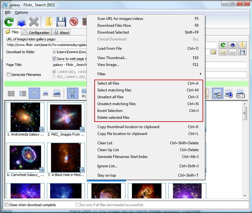 BID image selection methods