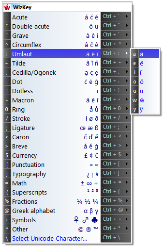 Type Accented Characters with WizKey