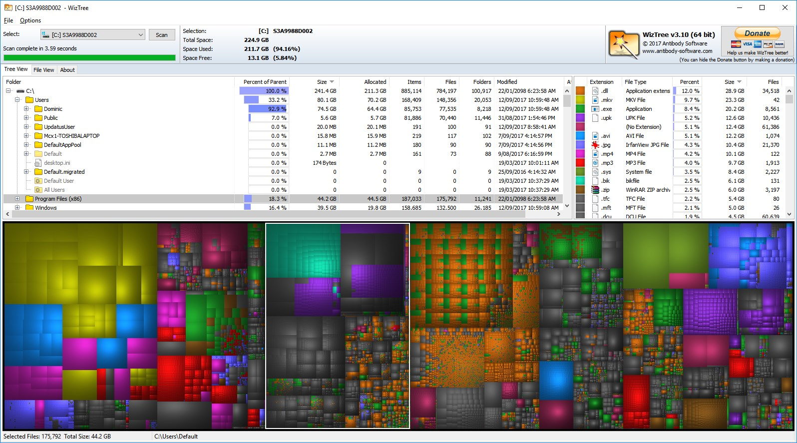 Antibody Software - WizTree finds the files and folders