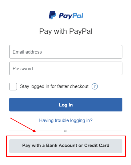 Pay via PayPal without a PayPal account